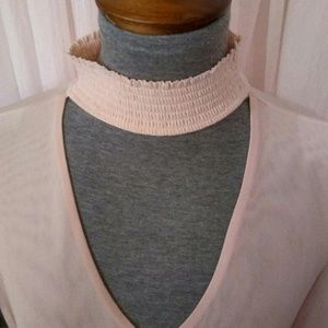 Crave Fame Tops - New Light Pink Sheer Choker Top
